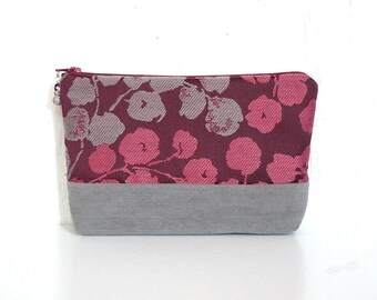 Fabric Zipper Pouch, Cosmetic Case, Zippered Makeup Bag - Blossoming Branch in Gray, Magenta and Plum
