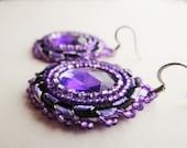Native American Beaded Purple & Black Earrings