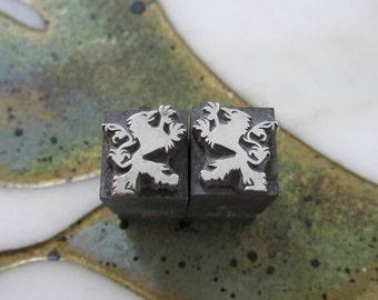 Pair of Griffins Vintage Metal Letterpress Printers Blocks