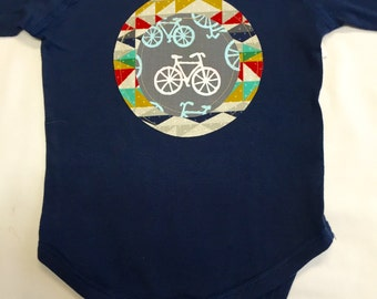 Boys Navy Bicycle Onesie - Baby Shower Gift