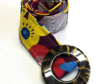 Women's Fabric Belt -Yellow, Maroon, Red,  & Blue Retro Floral