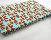 Foxy Couple FABdori -Fabric Travlers Notebook- Regular Wide Size; Fauxdori: Midori Style Notebook