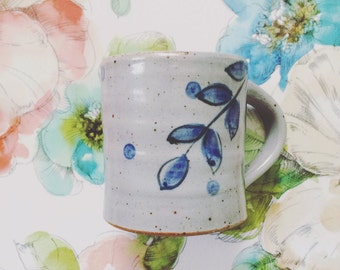 Handcrafted coffee mug - gray and indigo blue mug with polka dots and leaves - unique pottery cup - modern ceramics