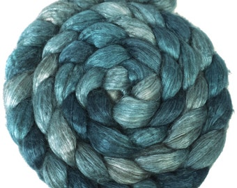 Handpainted Yak/Silk Roving - 4 oz. SHADES of TURQUOISE - Spinning Fiber