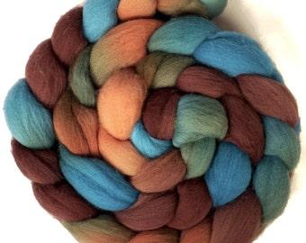 Handpainted Targhee Wool Roving - 4 oz. COPPER HILLS - Spinning Fiber