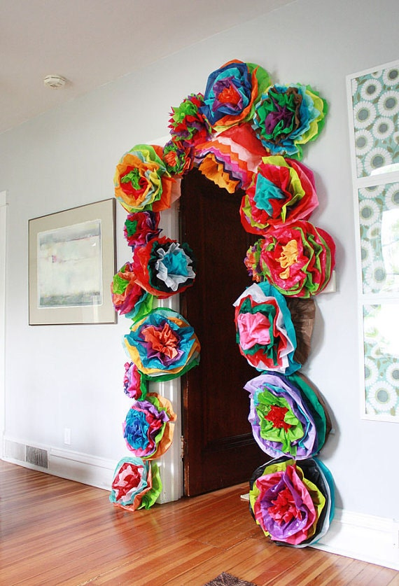 Mexican Paper Flower Wall Colored Tissue Paper Pom Poms Set