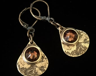 Granite Textured Brass Teardrops with Smoke Topaz Crystal Leverback Earrings