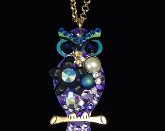 Owl Pendant  Necklace Colorful and Fun and Eclectic Crystal and Flower Collage