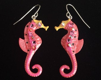 Seahorse Earrings Fun Hand Painted in Coral and Pink