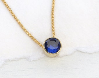 Sapphire Necklace in 18k Gold, September Birthstone, Lab Grown Stone, Handmade in the UK