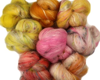 Frozen Lemonade -- mini batts (2 oz.) organic polwarth wool, bamboo, silk, baby camel, sari silk, sparkle.