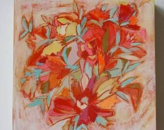 Happy expressionistic floral 8x8 painting
