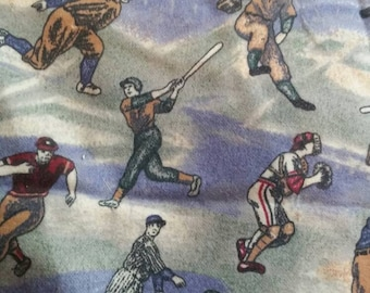 Vintage baseball player flannel fabric 1 and 5/6 yards x 42 inches