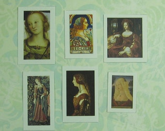 Set Of Six Dollhouse Miniature DIY Renaissance Lady Art Prints