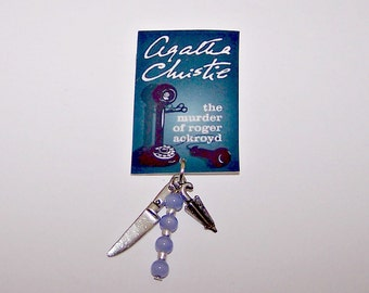 "AGATHA CHRISTIE ""Roger Ackroyd"" Book Cover Charm Pin"