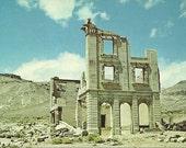 Vintage 1950s Postcard Nevada Rhyolite Ghost Town John S. Cooke Bank Desert Ruins Haunted Rurex Urbex Photochrome Era Postally Unused