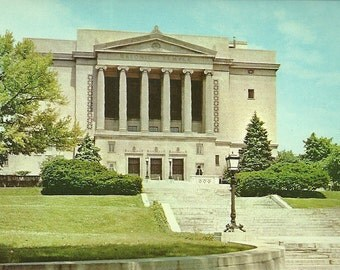 Vintage 1950s Postcard Ohio Dayton Masonic Temple Greek Architecture Secret Society Freemasons Building Photochrome Era Postally Unused
