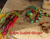 Bright colored gypsy tassel necklace turquoise magenta and green