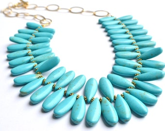 The Raindrops- Turquoise Howlite Spike Necklace