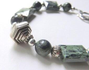 Green Gemstone Bracelet - Kambaba Jasper and Sterling Silver Beaded Bracelet - Woodland Style Jasper Bracelet - Sterling Silver Toggle Clasp