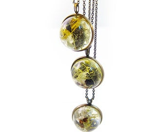 Dome Terrarium Necklace • Botanical Jewelry • Science Jewelry • Resin Jewelry • Resin Moss Jewelry • Terrarium Plant Jewelry