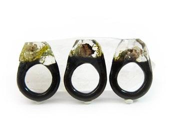 Moss Resin Ring • Nature Inspired Rings • Terrarium Ring • Terrarium Moss Jewelry • Botanical Ring • Valentine's Gift for Her • Size 5.5