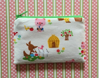 Cute Little bag - Fairy tale 3 little pigs -  kawaii zipper pouch - change purse - wallet