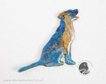 Blue and Gold Labrador Brooch, Labrador Pin, Labrador Brooch, Gifts For Dog Lovers