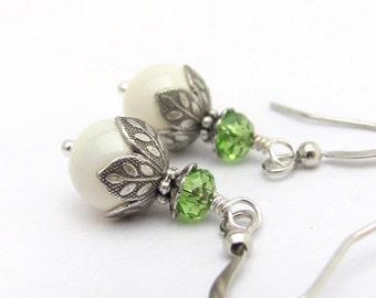 Swarovski Pearl Earrings, Ivory White Wedding Jewelry, Spring Green Crystals, Steampunk Wedding, White Earrings, Pearl Earrings, Bridesmaid
