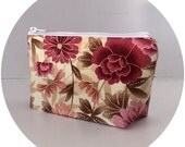 Pink floral makeup bag cosmetic organizer pouch girlfriend gift for her for wife