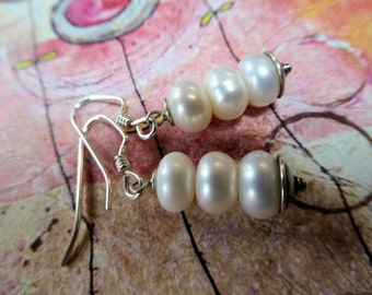 Freshwater Pearls and Sterling Silver Earrings