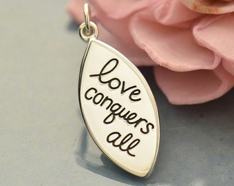Love Conquers All sterling silver charm or pendant. Add to your necklace.