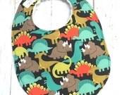Dinosaur Baby Bib, Bib for Baby Boy, Triceratop Bib - Triple Layer Chenille - DINOSAURS