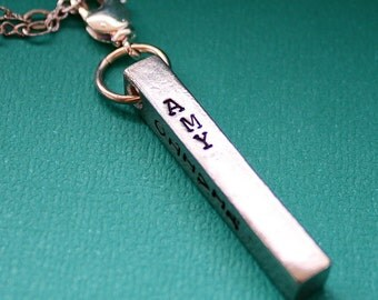 Pewter Bar Necklace - 4 Sided Pendant - Hand Stamped