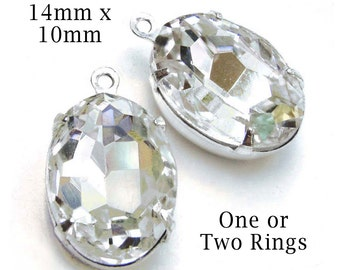 Crystal Oval Beads, Silver Plated Brass Settings, 14mm x 10mm, One or Two Rings, Rhinestone Jewels, Glass Gems, Wedding Jewels, One Pair