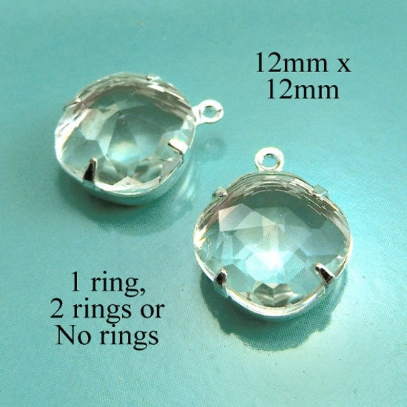 clear cushion cut glass cabochon beads