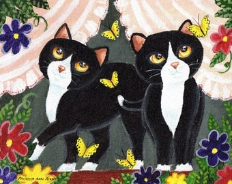 Tuxedo Cats 1, PRINT, Flowers, Butterflies, Window Cats by Patricia Ann Rizzo