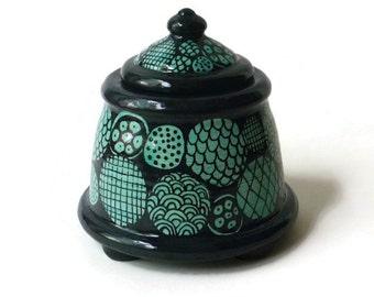 Ceramic Jar with Feet - Doodle Design in Turquoise Black