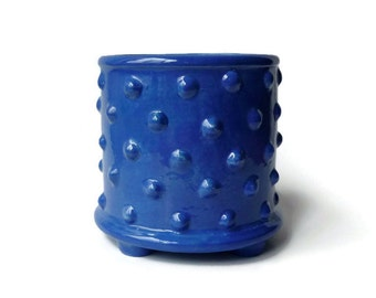Bright Blue Utensil Crock with Bumpy Texture - Bumpy Pot Planter with Feet