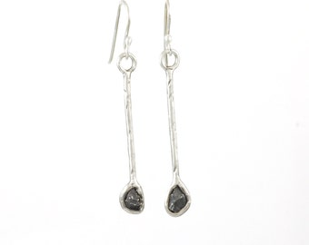 Meteorite Earrings in Sterling Silver - Size Large