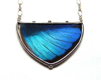 NEW Design - Shield Shape Statement Necklace - Blue Morpho Butterfly Necklace - Real Butterfly Wing - Nature Art Jewelry