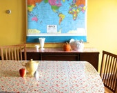 Fitted/Elasticized Laminated Cotton Tablecloths -- Round, Rectangle, Square and Oval -- Custom Made -- bpa and pvc free