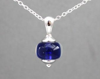 Cobalt Blue Necklace, Sterling Silver Necklace, Lampwork Bead Necklace, Pendant Necklace