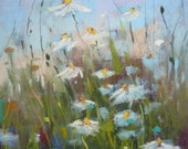 Field of DAISIES Wildflowers 6x6  Original Pastel Painting