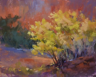 SOUTHWEST Chamisa in Bloom Fall Yellow Landscape ART Original Pastel Painting