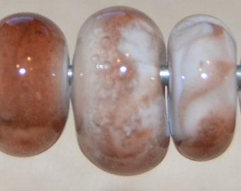 Choc-chip  Seven boro lampwork beads- SRA K45
