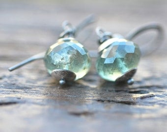 Moss Aquamarine Earrings Sterling Silver Stormy Green Aquamarine Jewelry Green Earrings Green Gemstone Jewelry Gift for Her