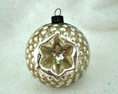 Vintage  Glass Christmas Tree Ornament  - Silver with Star Indent Mid Century Ornament
