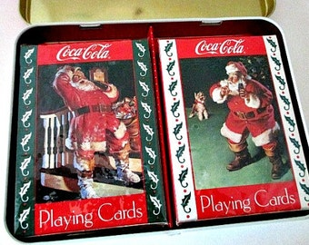 1993 Santa Coca-Cola Playing Cards - Sealed Complete in Original Tin Box