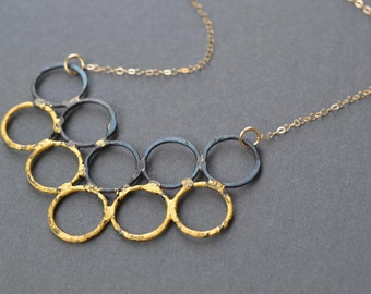 Bubble Chevron Necklace- steel & gold long layering necklace